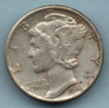 1943 Mercury Dime (U.S. Coin - 90% Silver) - Circulated
