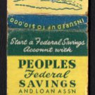 PEOPLES FEDERAL SAVINGS & LOAN - Chicago, Illinois - Vintage Matchbook Cover
