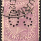 "VICTORIA Postage Stamp - 1905 - 2p Queen Victoria (Sc. #220) - Used ""O S"" Perfin"