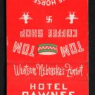 HOTEL PAWNEE - North Platte, Nebraska - Vintage Matchbook Cover