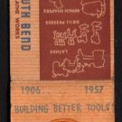 SOUTH BEND LATHE WORKS - South Bend, Indiana - 1957 Vintage Matchbook Cover