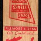 TOM'S STEAK HOUSE - Melrose Park, Illinois - 1950s(?) Vintage Matchbook Cover