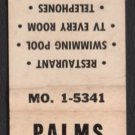 PALMS TOWN & COUNTRY MOTEL - South Miami, Florida - Vintage Matchbook Cover
