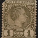MONACO Postage Stamp - 1885 - 1c Prince Charles III (Sc. #1) - Unused (damaged)