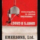 EMERSONS, LTD. Restaurants - Steak, Beer, and Salad - Vintage Matchbook Cover