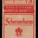 SCHERMERHORN CIGAR STORES - Chicago, Illinois - 1950s(?) Vintage Matchbook Cover
