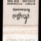 STOUFFER'S Restaurants - Chicago, Detroit, New York, Pittsburgh, Cleveland -Vintage Matchbook Cover