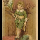 DILWORTH'S COFFEE Victorian Trade Card - Curly-haired boy in green suit holding odd-looking creature