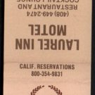 LAUREL INN MOTEL - Salinas, California - 1980s Vintage Matchbook Cover