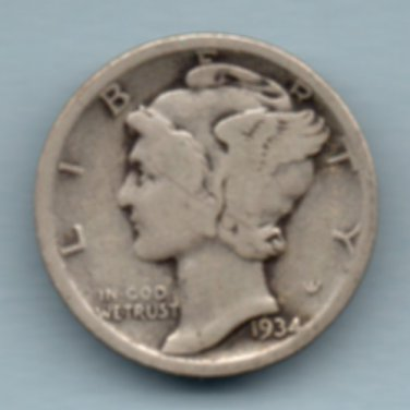 1934 Mercury Dime (U.S. Coin - 90% Silver) - Circulated