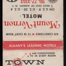 TOWN HOUSE MOTOR HOTEL / MOUNT VERNON INN - Albany, New York - Matchbook Cover