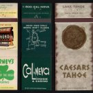 LAKE TAHOE CASINO/HOTELs - Lake Tahoe, Nevada - 5 Different Matchbook Covers