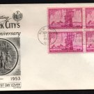 FLEETWOOD - 1953 New York City Tercentenary (#1027) FDC - B4 UA