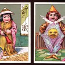 JERSEY COFFEE Victorian Trade Cards (2) - Children in fancy outfits (kimono, clown suit)