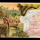 1889 Victorian Trade Card -Arbuckle Brothers Coffee Company- Map of  UNITED STATES OF COLUMBIA (#70)