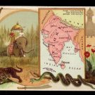 1889 Victorian Trade Card - Arbuckle Brothers Coffee Company - Map of  INDIA (#79)