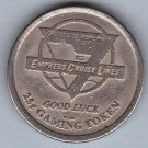 1990s EMPRESS CRUISE LINES 25¢ Gaming Token
