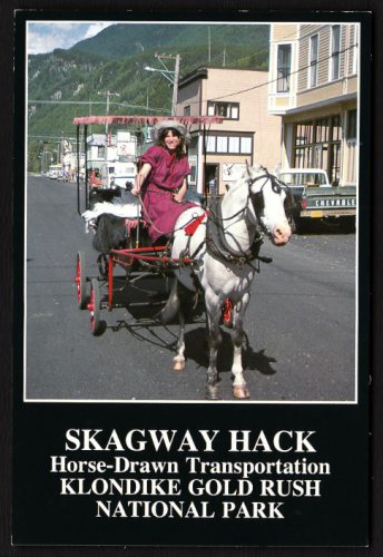 1980s SKAGWAY, ALASKA - Horse-Drawn Taxi - Unused Postcard