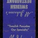 AL JOHNSON'S SWEDISH RESTAURANT - Sister Bay, Wisconsin - 1960s Matchbook Cover
