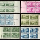 1950-59 - 20 Different 3¢ Commemorative Plate Blocks