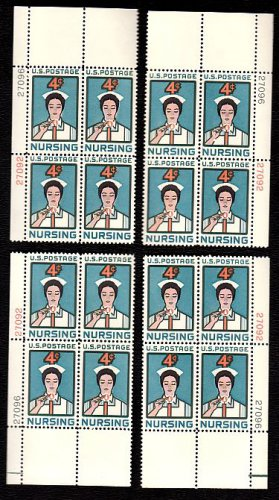 1961 Nursing (#1190) Matched Plate Blocks