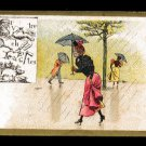 CHOCOLAT BESNIER (Le Mans, France) Victorian Trade Card - Rain, umbrellas, Rebus word puzzle