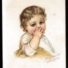 McLAUGHLIN'S COFFEE Victorian Trade Card - Cute little girl w/ curly brown hair
