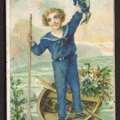 C.F. WARE Coffee Victorian Trade Card - Sailor boy in boat w/ flowers
