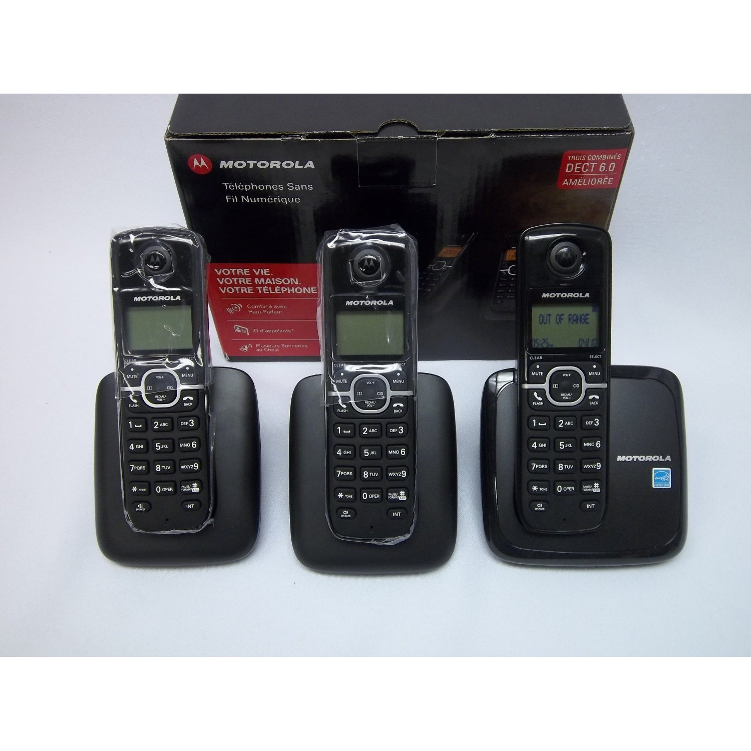 NEW! Motorola Digital Cordless Phone L603M With 3 Handsets