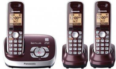Panasonic KX-TG6573R Wine Red Expandable Digital Cordless Phone w/ 3 handset