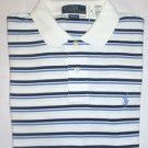 NEW RALPH LAUREN MENS CLASSIC FIT POLO SHIRT LARGE NWT WHITE & BLUE FREE SHIP