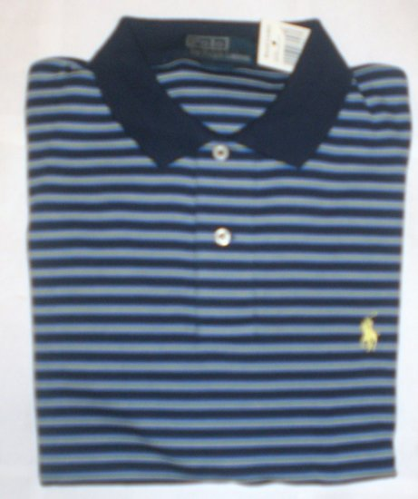 NEW RALPH LAUREN MENS CLASSIC FIT POLO SHIRT LARGE NWT BLUE & YELLOW FREE SHIP
