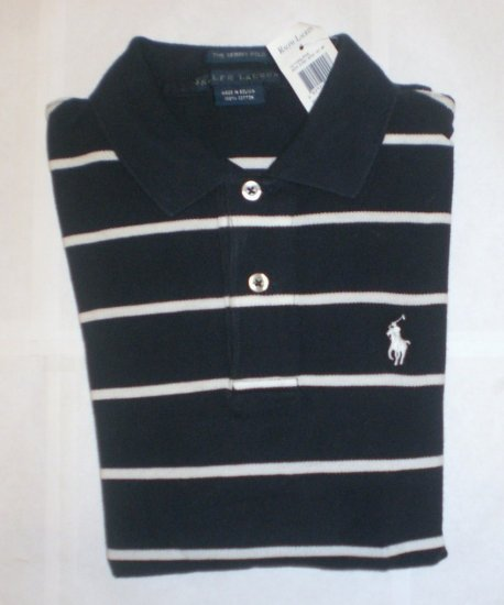 NEW RALPH LAUREN WOMENS SKINNY POLO SHIRT XS L/S NWT NAVY BLUE STRIPED FREE SHIP