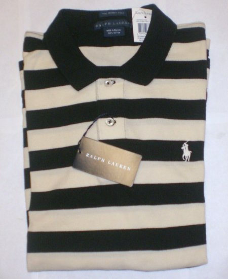 NEW RALPH LAUREN WOMENS SKINNY POLO SHIRT XL L/S NWT BLACK AND WHITE STRIPED FREE SHIP