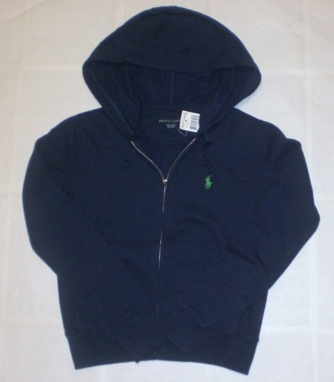 NEW RALPH LAUREN WOMENS HOODIE ZIP SWEATER XS NWT NAVY BLUE FREE SHIP