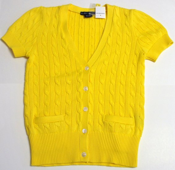 NEW RALPH LAUREN WOMENS CABLE KNIT CARDIGAN LARGE YELLOW