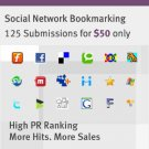 125 Social Bookmarking Submission on high PR sites@ $45-10% OFF