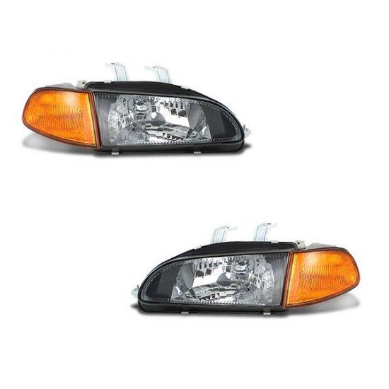 92-95 Honda Civic 2Dr / 3Dr, Projector Headlights (Black)