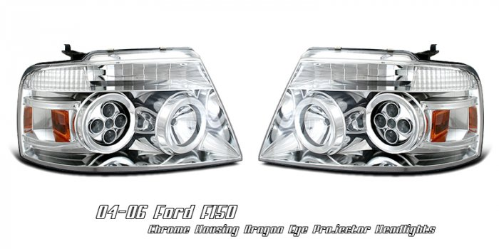 04-08 Ford F150, Projector Headlights, Chrome