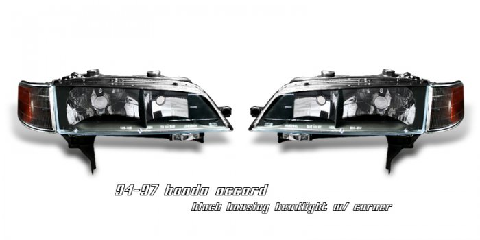 94-97 Honda Accord, Crystal Headlights (Black)