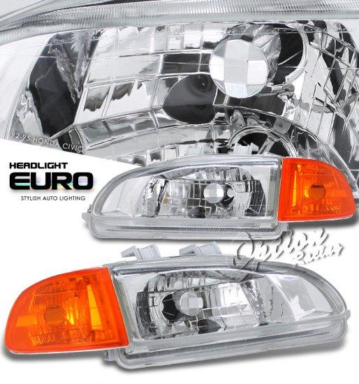 92-95 Honda Civic 2Dr/3Dr, Crystal Headlights (Black)