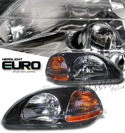 96-98 Honda Civic, Crystal Headlights (Black)