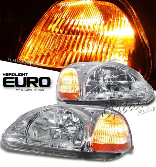 96-98 Honda Civic, Crystal Headlights (Chrome)