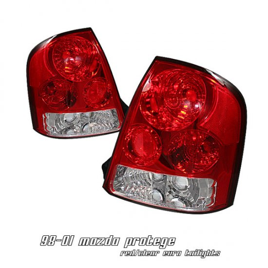 99-03 Mazda Protege, Euro Tail Lights, Red