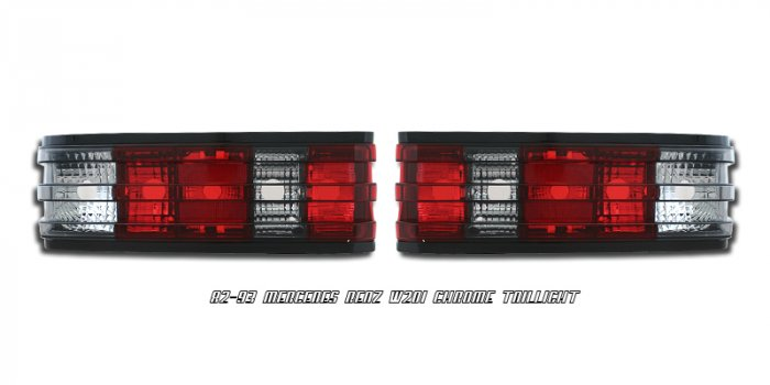 82-93 Mercedes C-Class (W201), Euro Tail Lights, Red Smoked