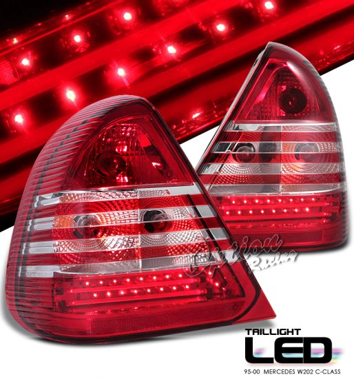 95-00 Mercedes C-Class (W202), LED Tail Lights, Red