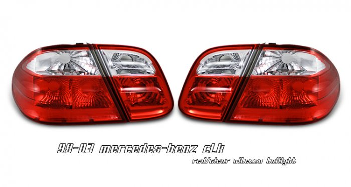 98-03 Mercedes CLK-Class (W208), Euro Tail Lights, Red