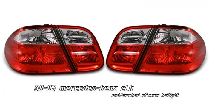 98-03 Mercedes CLK-Class (W208), Euro Tail Lights, Red / Smoked