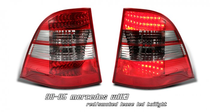 98-05 Mercedes M-Class (W163), LED Tail Lights, Red / Smoked