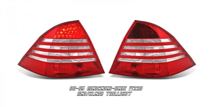 00-05 Mercedes S-Class (W220), LED Tail Lights, Red